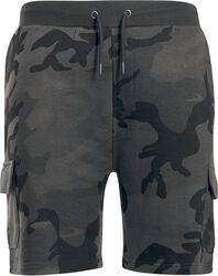 Teplákové kapsáčové šortky s kamufláž vzorem