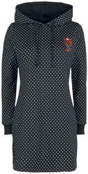 Teplákové šaty Cherries Dots s kapucí