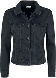 Černá denimová bunda s ošoupaným efektem Debra