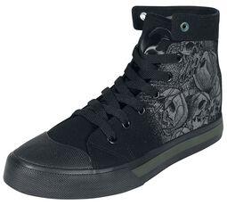Black Sneakers with Skull Print
