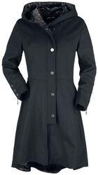 Černý kabát Gothicana X Anne Stokes s velkou kapucí a šněrováním