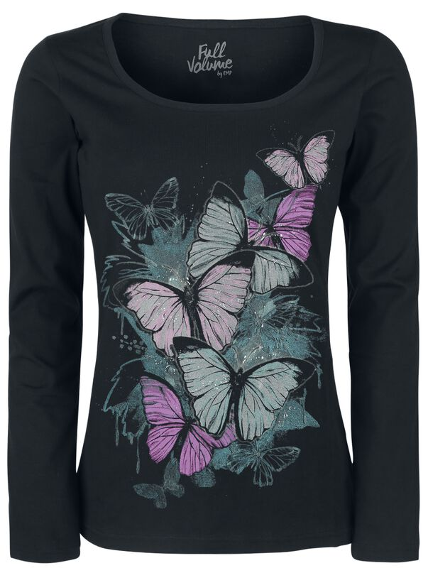Long-Sleeve Shirt with Butterfly Print