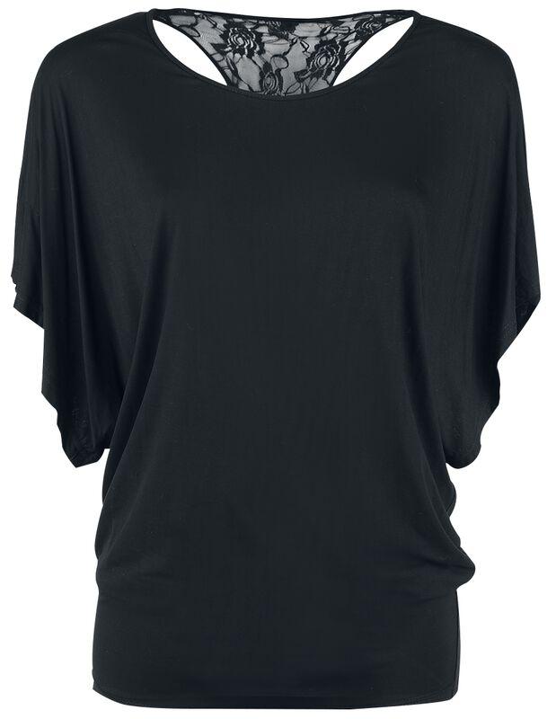 Tričko s netopýřími rukávy a krajkou na zádech