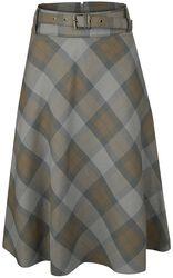 Kruhová plédová sukně