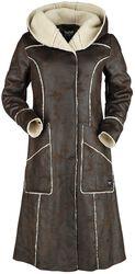 Hnědý koženkový kabát s neukončenými švy