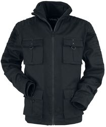 Winter jacket with flap pockets decorative seams