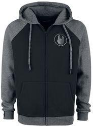 Černá/šedá bunda s kapucí s raglánovými rukávy