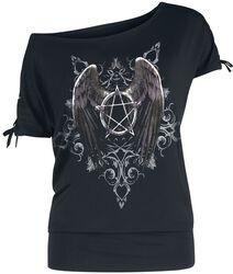 Černé tričko Gothicana X Anne Stokes s potiskem a šněrováním