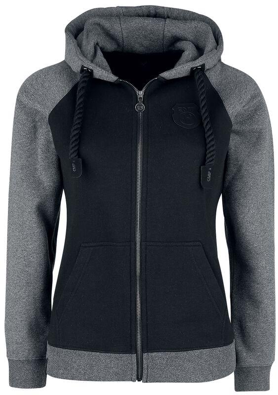 Černo-šedá bunda s kapucí