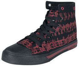 Cerveno-cierne tenisky s batikovaným vzhladom