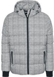Károvaná prošívaná bunda s kapucí