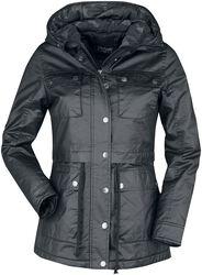 Černá bunda s kapsami s klopami