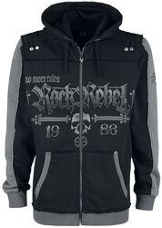 Černá bunda s kapucí a potisky s lebkou a motivem Rock Rebel