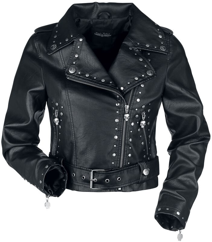 Černá koženková bunda s nýty