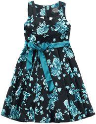 Šaty s kruhovou sukní Black Rosaceae