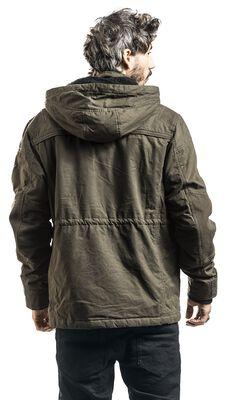 Zelená přechodná bunda s odnímatelnou kapucí