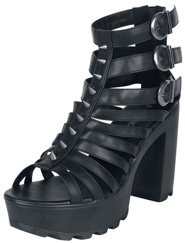 Černé boty na vysokých podpatcích s řemínky a nýty