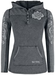 Grey long sleeve shirt with hood and prints