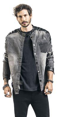 Denimová košile s obnošeným vzhledem a motorkářskými detaily