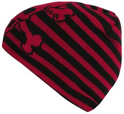 Černo červená proužkovaná čepice s lebkou