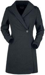 schwarzer Mantel mit Wollanteil