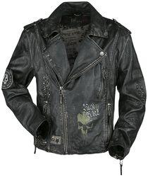 Tmavě šedá motorkářská kožená bunda