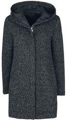 Žíhaný kabát s kapucí