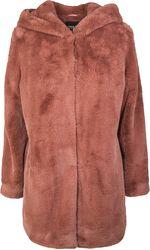 Dámský plyšový kabát s kapucí