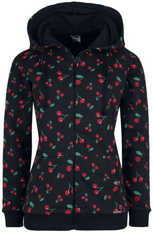 Bunda s kapucí na zip Cherries
