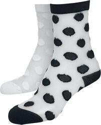 Balení 2 párů síťovinových ponožek s puntíky