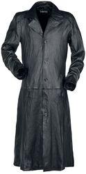 Dlhý cierny kožený kabát s golierom