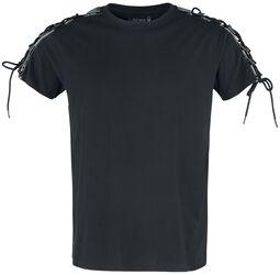 schwarzes T-Shirt mit Schnürung an den Ärmeln